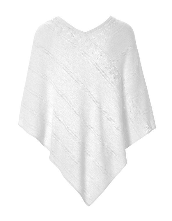 White Poncho Sweater, White, hi-res