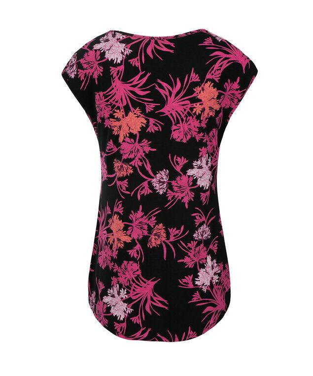 Extended Sleeve Tee, Black/Pink Print, hi-res