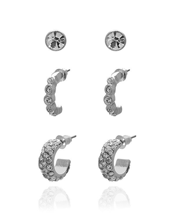 Silver Mixed Crystal Trio Earring Set, Silver, hi-res