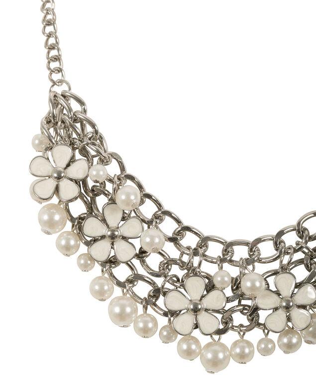 Epoxy Flower & Pearl Statement Necklace, Milkshake/Rhodium, hi-res