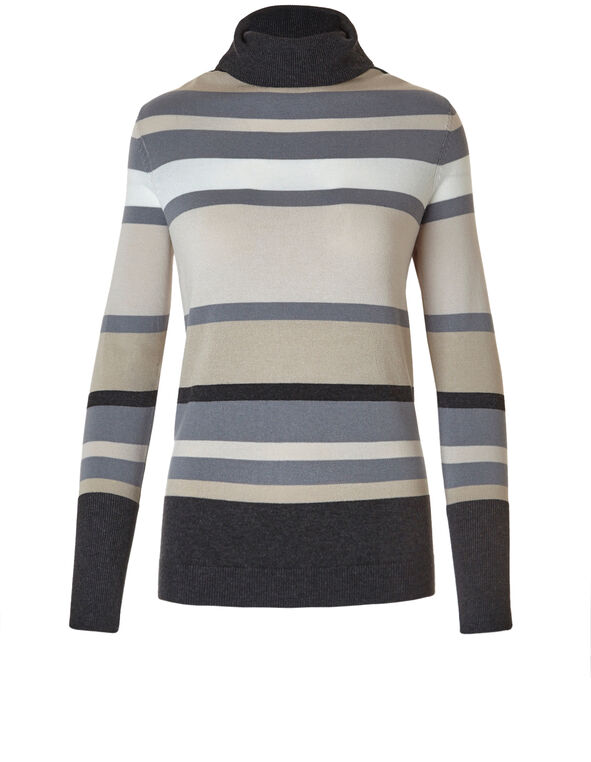 Multi Stripe Essential Turtleneck Sweater, Neutral Stripe, hi-res
