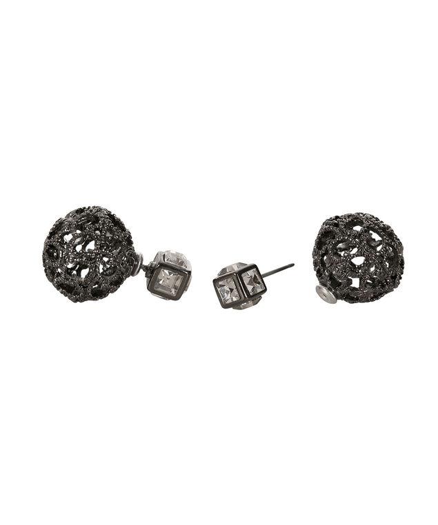 Front Back Earring, Hematite, hi-res