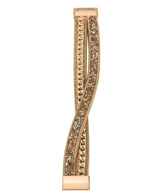 Chain & Crystal Wrap Bracelet, Blush/Rose Gold, hi-res