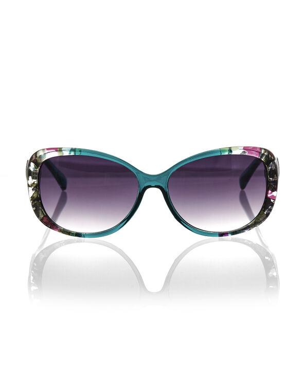 Teal Floral Print Sunglasses, Teal/Pink/Black, hi-res
