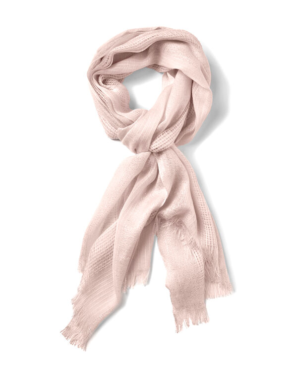 Soft Pink Waffle Knit Scarf, Soft Pink, hi-res