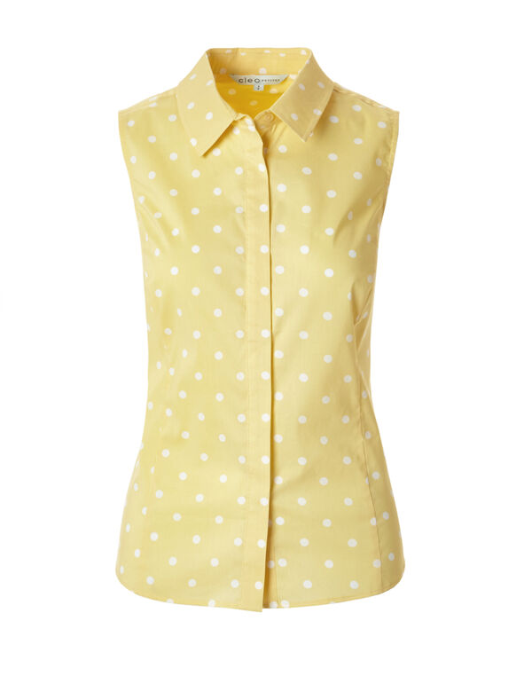 Yellow Print Collared Blouse, Yellow/White, hi-res