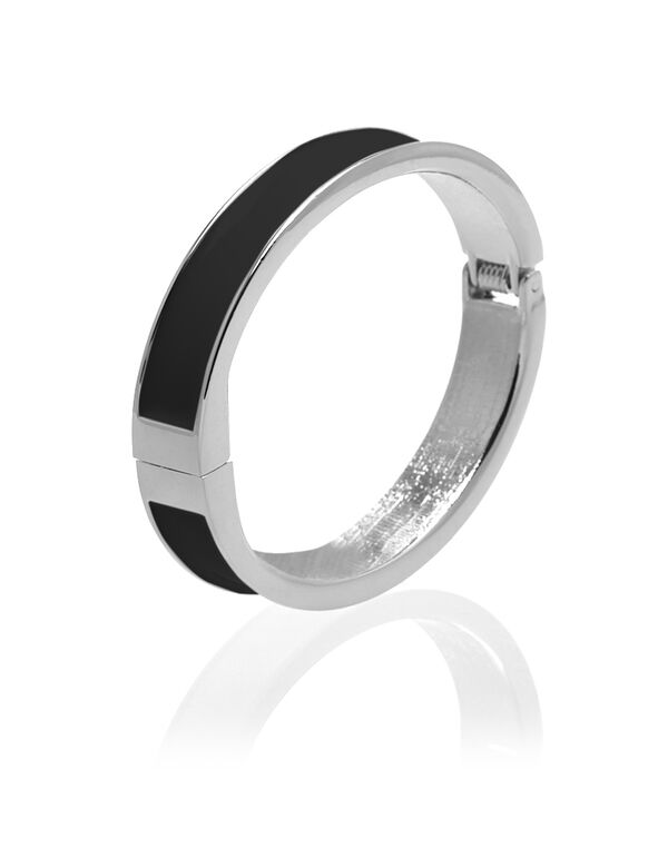 Black Bangle Bracelet, Silver/Black, hi-res