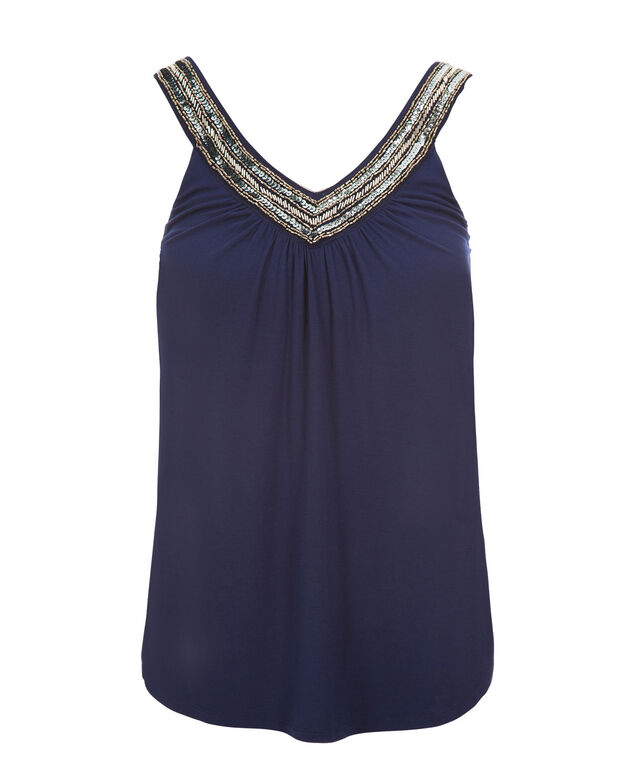 Beaded V-neck Tank, Deep Blue, hi-res