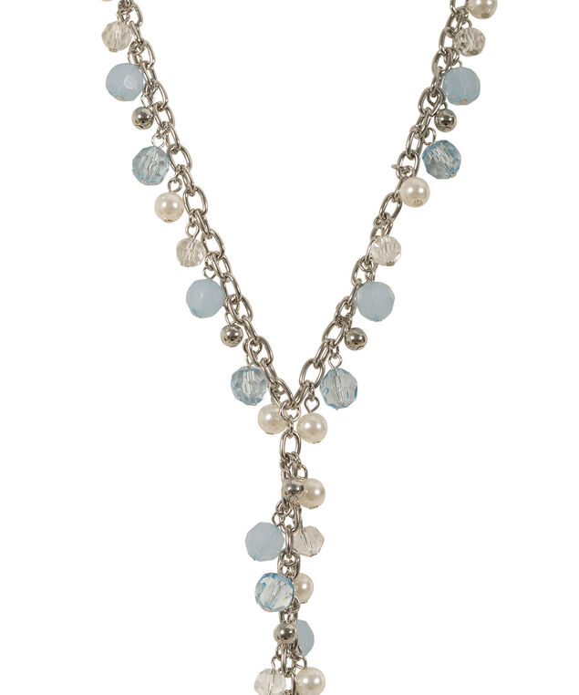 Faceted Pearl & Stone Necklace, Misty Blue/Rhodium, hi-res