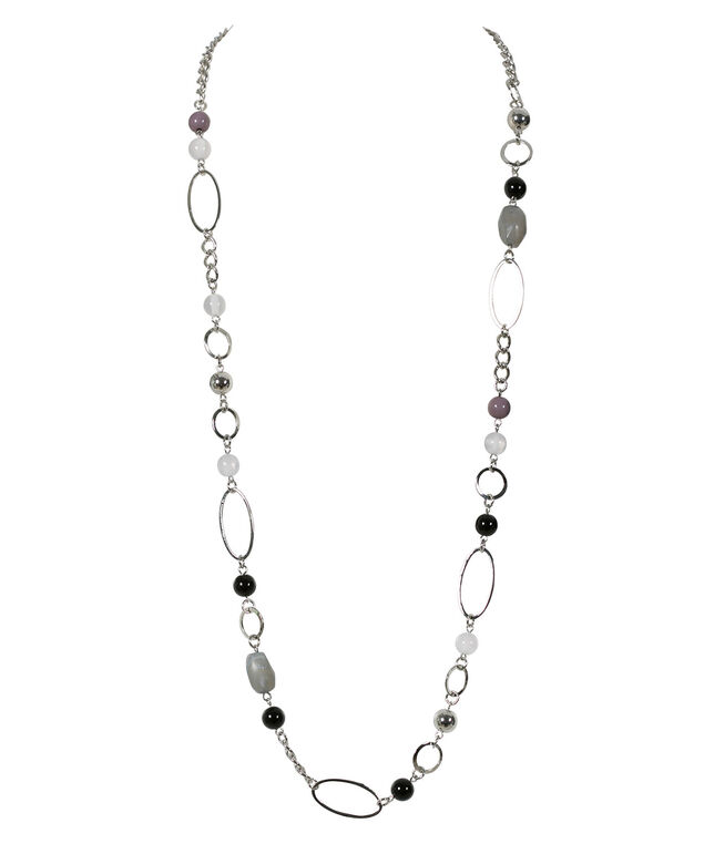 Stationed Bead Necklace, Black/White/Rhodium, hi-res