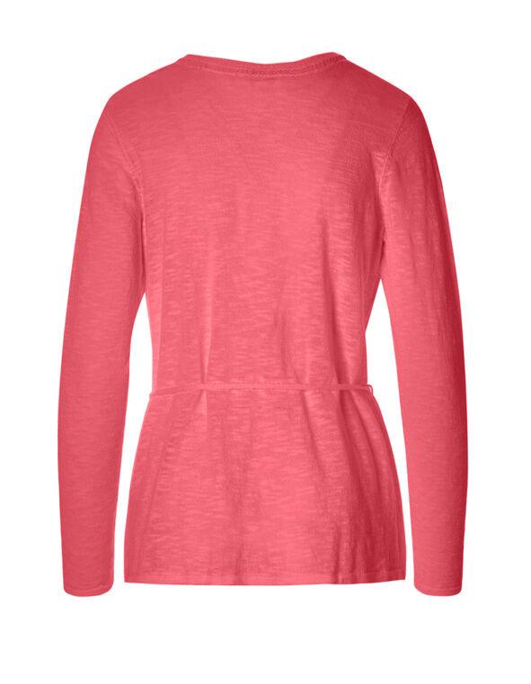 Pink Coral Tassel Tie Cardigan, Pink Coral, hi-res