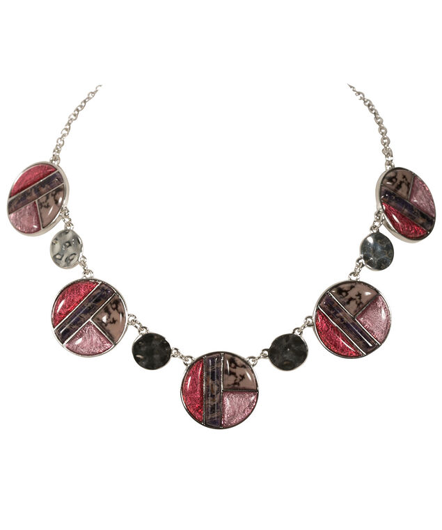 Acrylic Stone Statement Necklace, Pink/Rhodium, hi-res