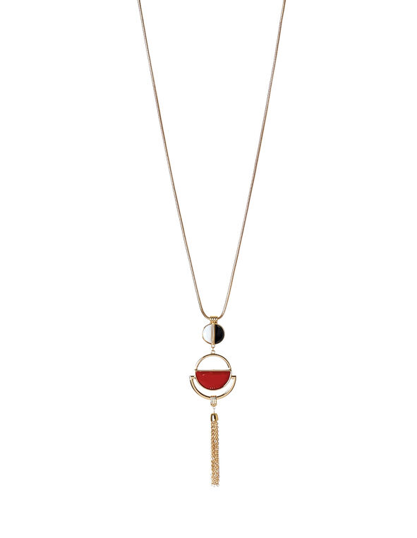 Red Long Tassel Necklace, Gold/Red/Black/White, hi-res