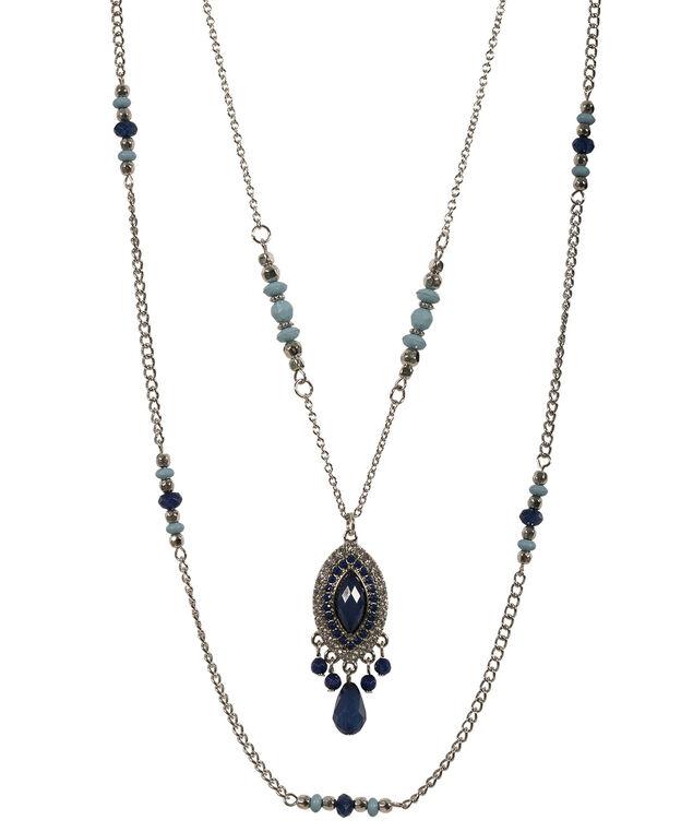 Layered Bead Pendant Necklace, Sapphire/Rhodium, hi-res