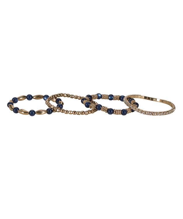 Stretch Bracelet Set, Sapphire/Antique Gold, hi-res