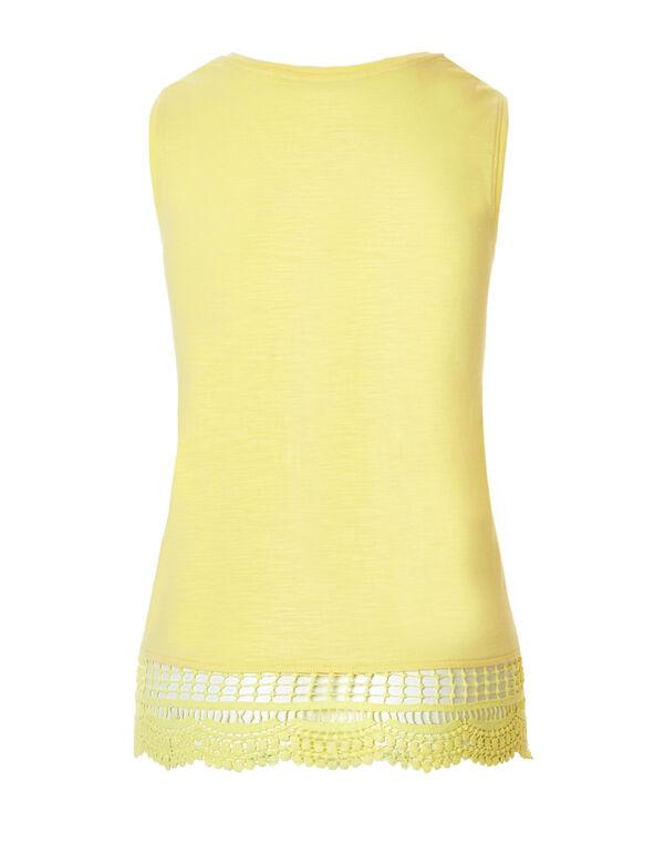 Yellow Crochet Trim Sleeveless Tee, Yellow, hi-res