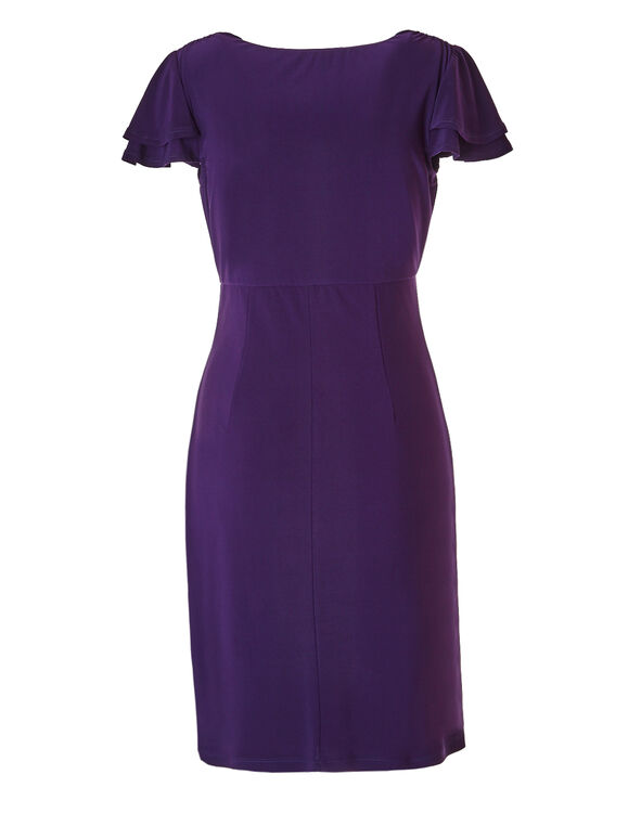 Purple Flutter Sleeve Dress, Purple, hi-res