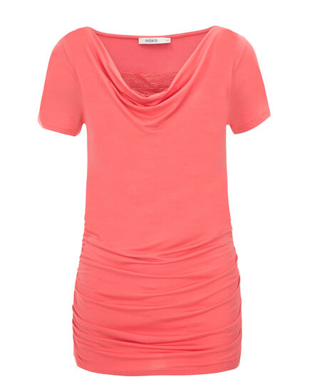 Lace Insert Cowl Top, Light Coral, hi-res