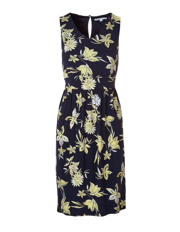 Floral Fit and Flare Dress, Navy/Yellow, hi-res