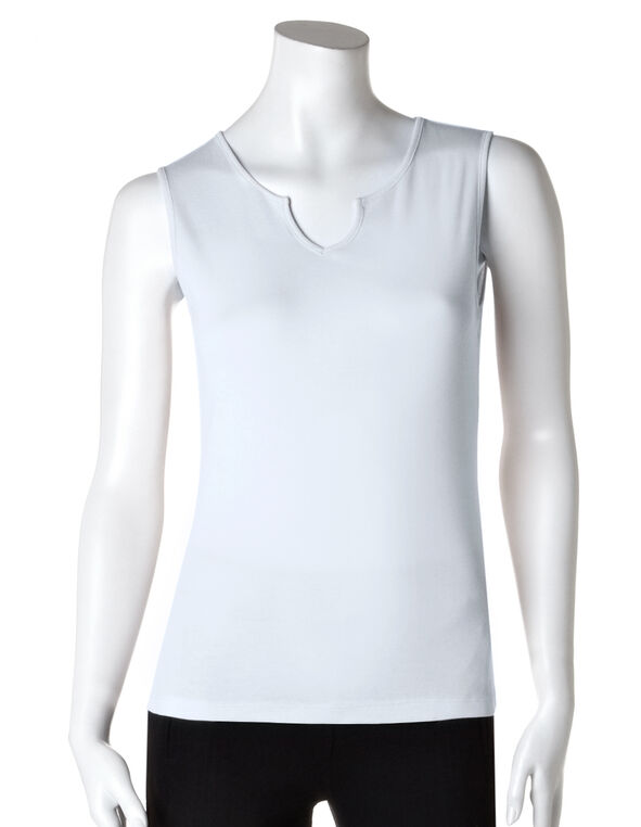 Split V-Neck Sleeveless Tee, White, hi-res