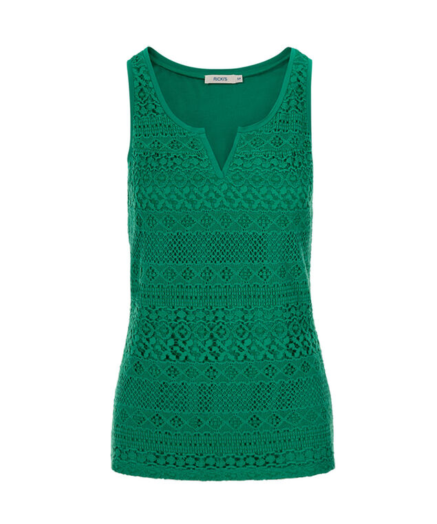 Crochet Notch Neck Tank, Sea Green, hi-res