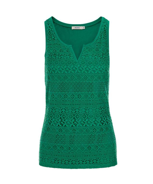 Crochet Notch Neck Tank, Sea Green, hi-res