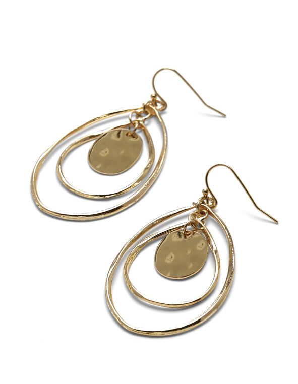 Gold Tiered Teardrop Earring, Gold, hi-res