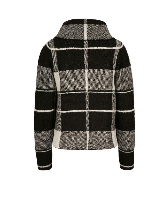 Plaid Sweater Jacket, Black/White, hi-res