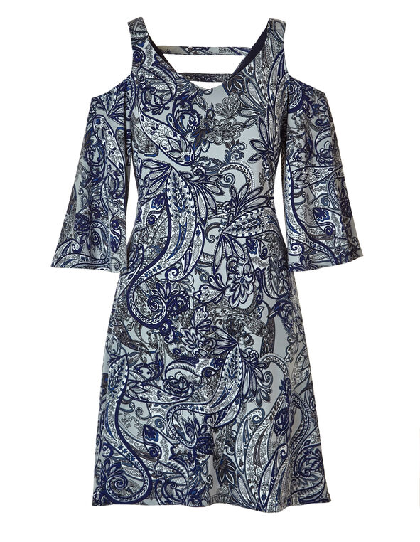 Blue Paisley Shift Dress, Blue/Grey/White, hi-res