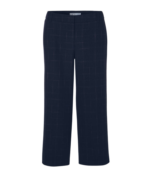 Navy Windowpane Crop Pant, Navy/Claret, hi-res