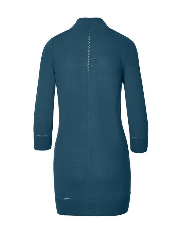 Turquoise Pointelle Cardigan, Dark Turquoise, hi-res