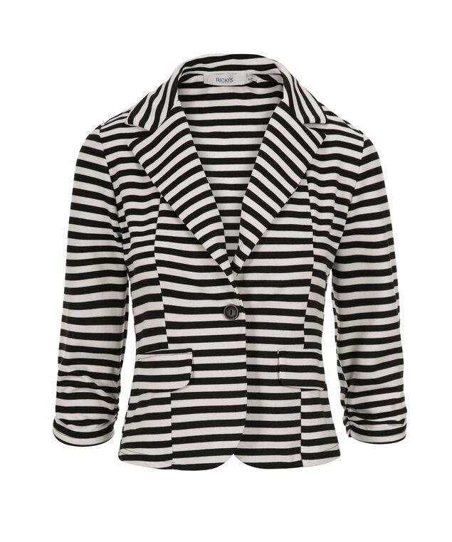Shrunken Striped Blazer, Black/White Stripe, hi-res