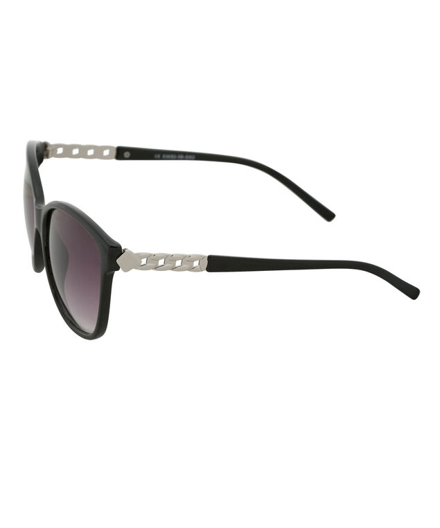 Chain Temple Detail Sunglasses, Black/Silver, hi-res