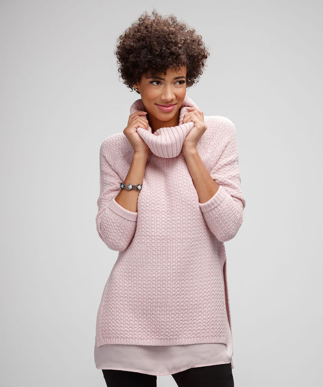 Chunky Cowl & Woven Sweater, Pink Blush, hi-res