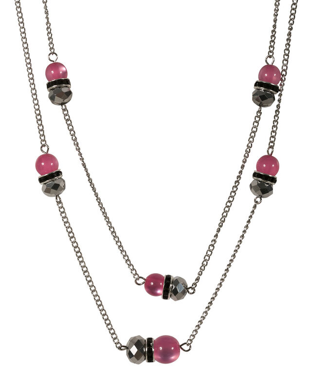Stationed Bead Necklace, Vibrant Pink/Black/Rhodium, hi-res