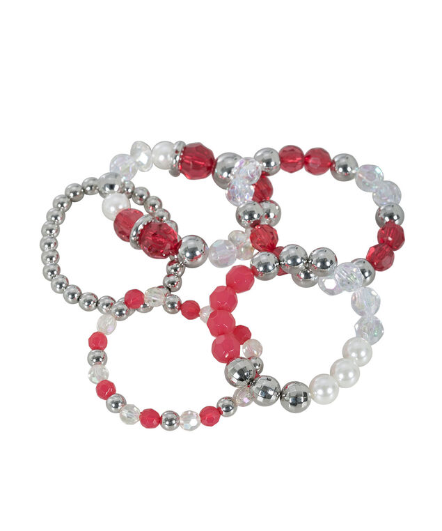 Faceted Stone Stretch Bracelet Set, Vibrant Pink/Rhodium, hi-res