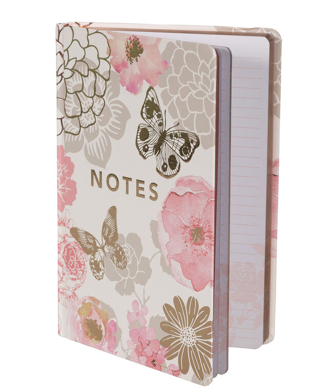 Notes Floral Notebook, Pink/Grey, hi-res