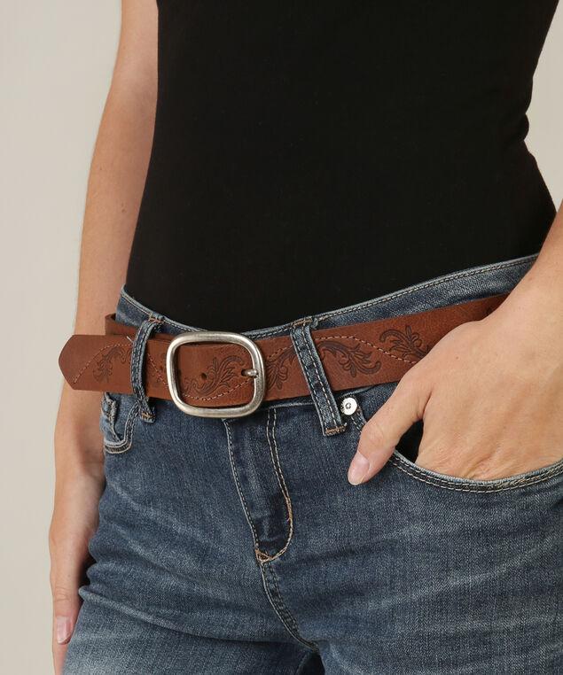 ladies leather belt, BROWN, hi-res