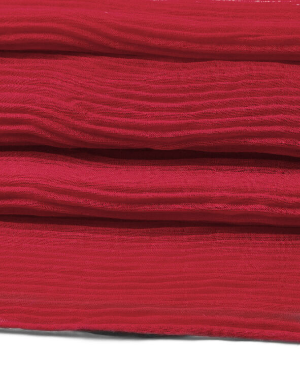 Red Pleated Scarf, Red, hi-res