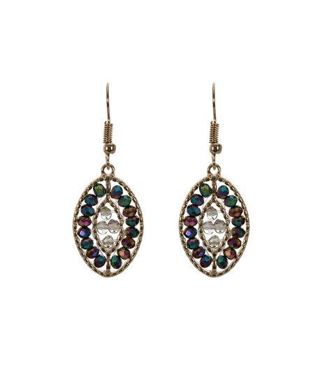 Iridescent Bead Earring, Plum/Antique Gold, hi-res