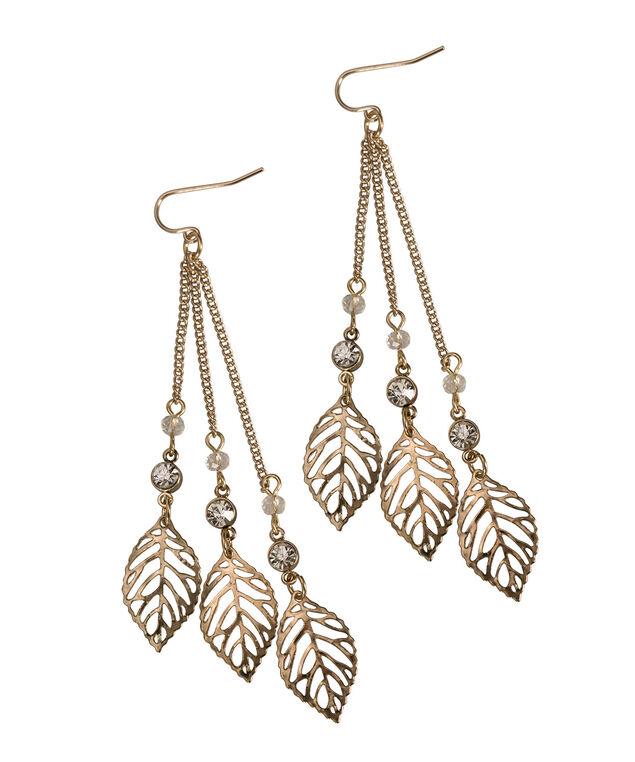 Chain Tassel Leaf Earring, Antique Gold, hi-res