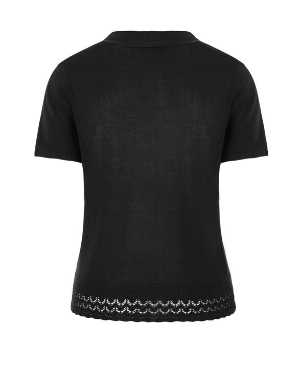 Black Short Sleeve Sweater, Black, hi-res