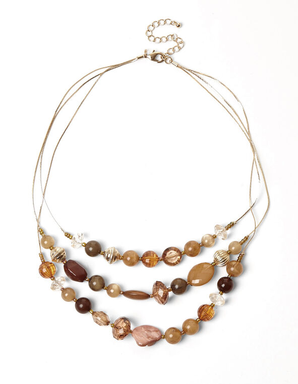 Brown Mixed Bead Necklace, Brown/Pink/Gold, hi-res