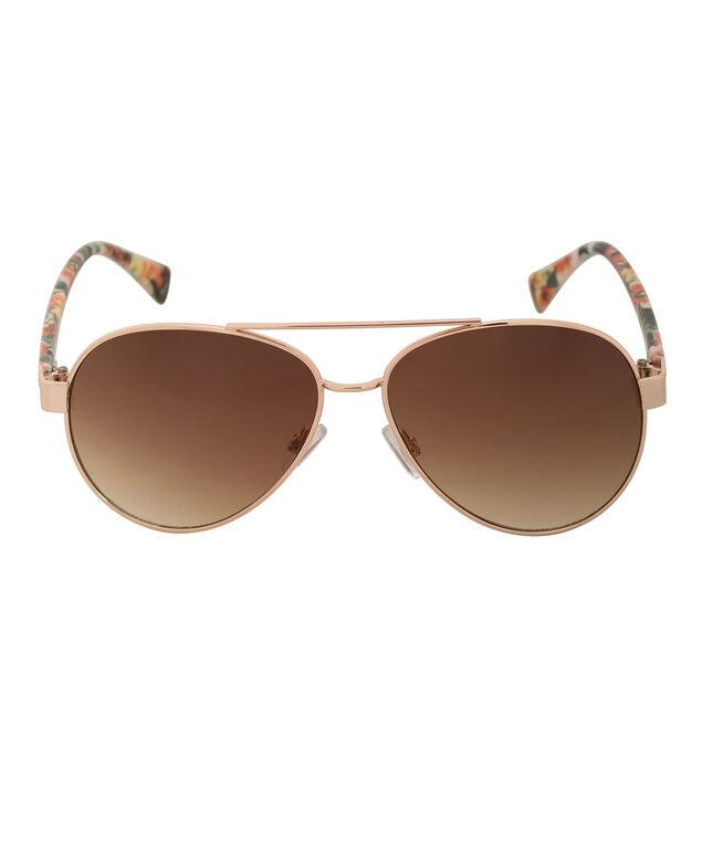 Floral Print Aviator Sunglasses, Orange/Green/Gold, hi-res