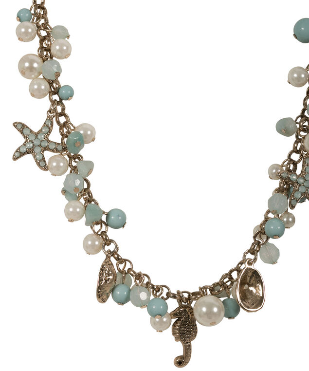 Pearl Starfish Necklace, Teal/Antique Gold, hi-res