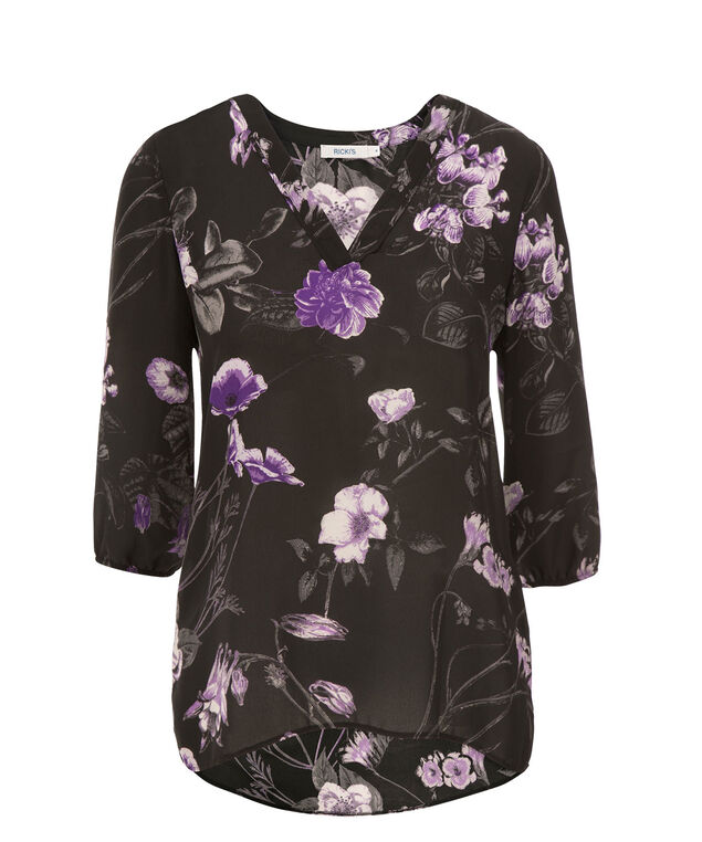 3/4 Sleeve V-Neck Blouse, Purple Print, hi-res
