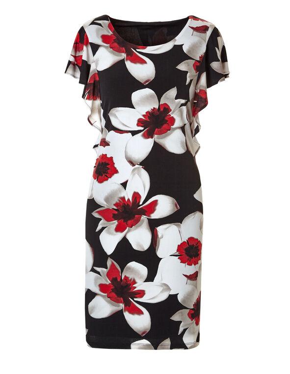Red Floral Flutter Sleeve Dress, Black/Red/White/Stone, hi-res
