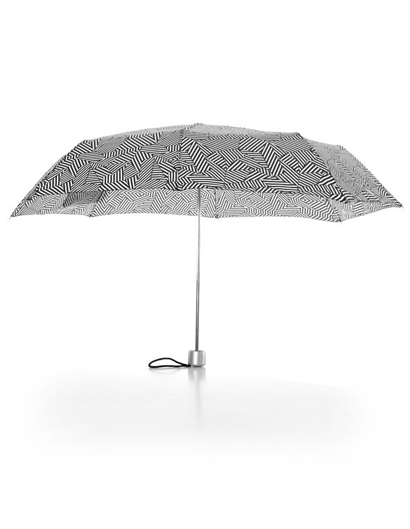 Crosshatch Printed Umbrella, Black/White, hi-res