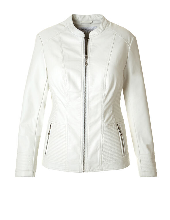 Ivory Pleather Jacket with Side Stitch, Ivory, hi-res