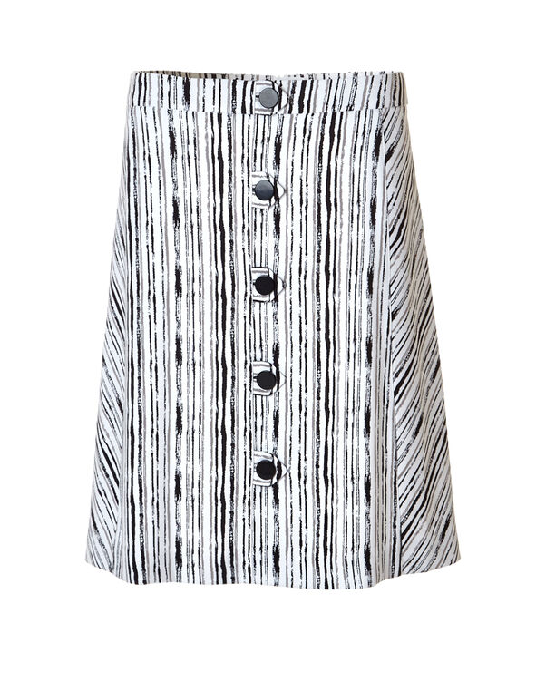 Button Front A-Line Skirt, White/Black/Stone, hi-res